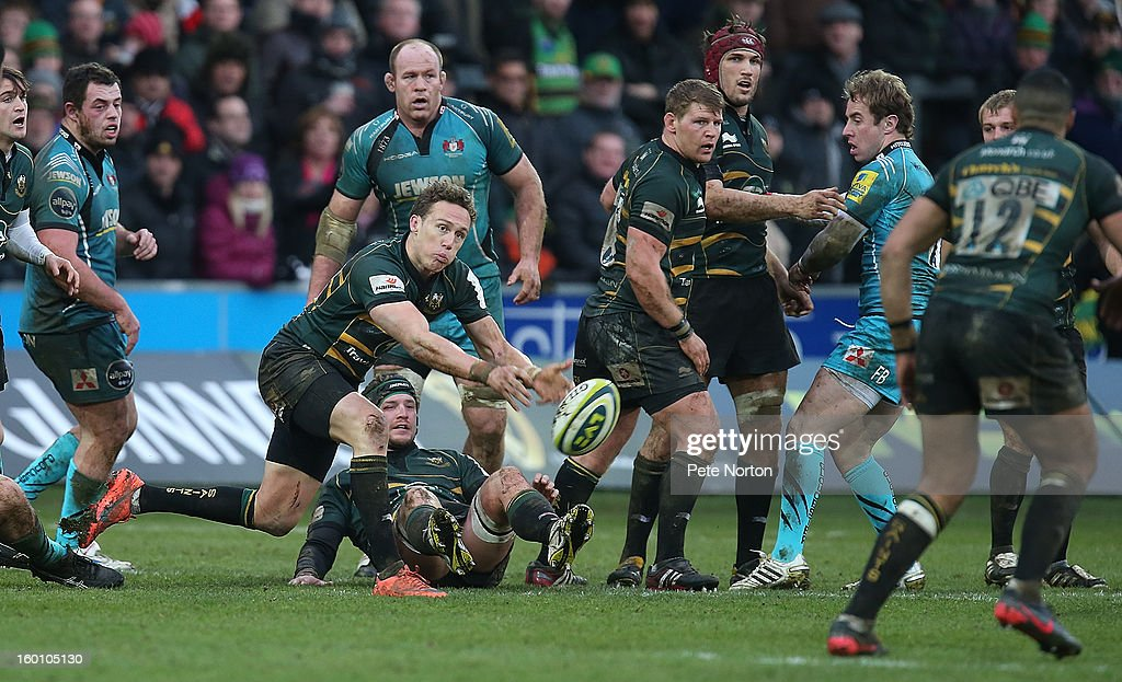 James Wilson of Northampton Saints passes the ball during the LV=Cup match between Northampton Saints and Gloucester at Franklin's Gardens on January 26, 2013 in Northampton, England.