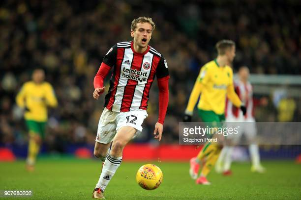James Wilson of Sheffield United reacts during the Sky Bet Championship match between Norwich City and Sheffield United at Carrow Road on January 20...