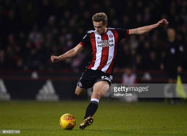 James Wilson of Sheffield United shoots at goal during the Sky Bet Championship match between Sheffield United and Sheffield Wednesday at Bramall...