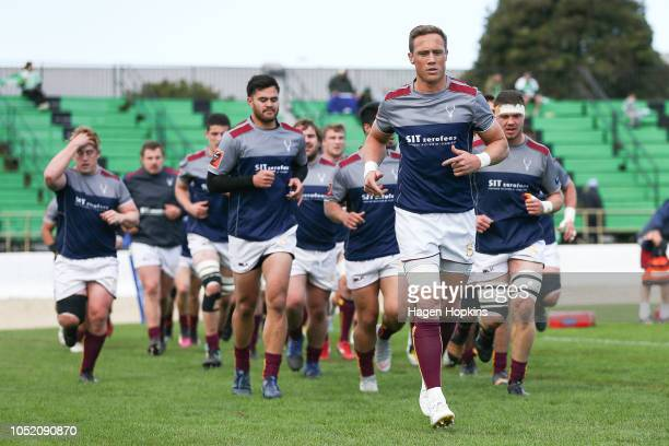 James Wilson of Southland leads his team off the field after warming up during the round nine Mitre 10 Cup match between Manawatu and Southland at...