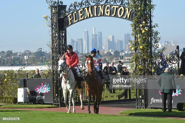 James Winks returns to the mounting yard on Royal Phoenix after winning Eugene Gorman Handicap at Flemington Racecourse on June 10 2017 in Flemington...