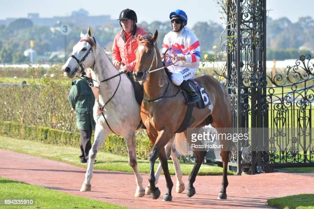James Winks returns to the mounting yard on Royal Phoenix after winning the Eugene Gorman Handicap at Flemington Racecourse on June 10 2017 in...