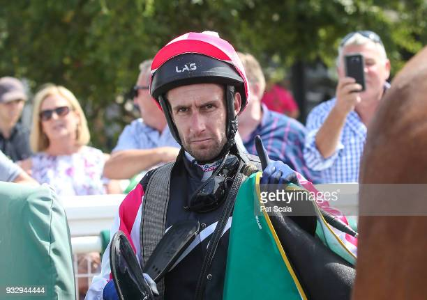 James Winks returns to the mounting yard on Spring Choice after winning Milana's Lingerie @ Swimwear Boutique 3YO Maiden Plate at Geelong Racecourse...