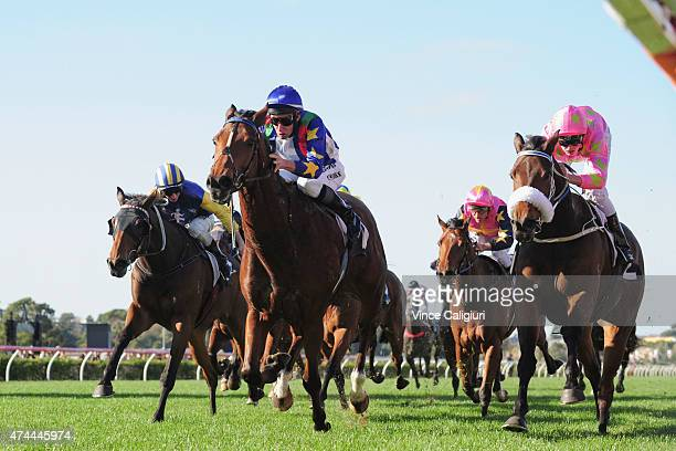 James Winks riding Magicool defeats Regan Bayliss riding Kenjorwood in Race 5the Banjo Paterson Heat 1 during Melbourne Racing at Flemington...