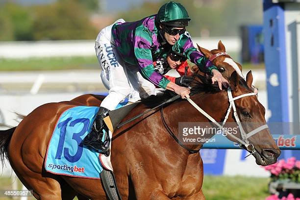 James Winks riding Our Voodoo Prince winning Race 7 the Le Pine Funerals Easter Cup during Melbourne Racing at Caulfield Racecourse on April 19 2014...