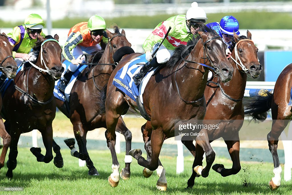 James Winks riding Prince Harada winning Race 4 during Melbourne racing at Caulfield Racecourse on April 4, 2015 in Melbourne, Australia.