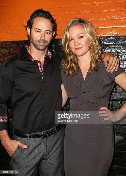 James Wirt and Julia Stiles attends the Opening Night After Party for 'Phoenix' at The Leonora on August 7 2014 in New York City