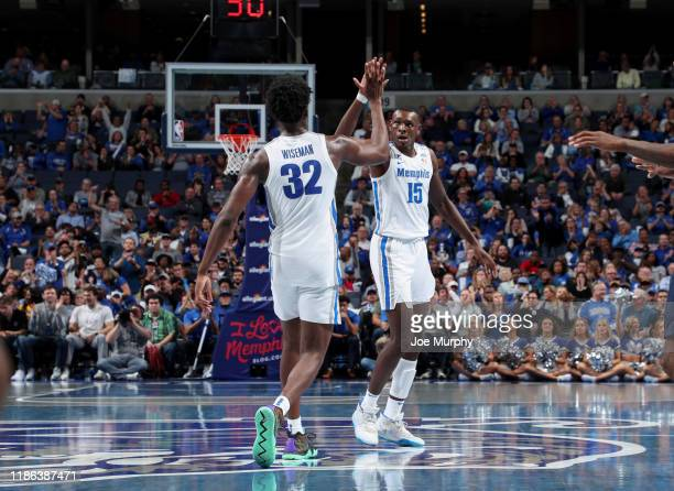 James Wiseman and Lance Thomas of the Memphis Tigers celebrate against the South Carolina State Bulldogs during a game on November 5 2019 at...