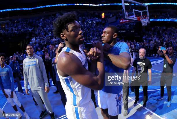 James Wiseman and Lance Thomas of the Memphis Tigers during team introductions against the South Carolina State Bulldogs on November 5 2019 at...