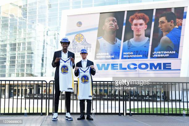 James Wiseman and Nico Mannion of the Golden State Warriors pose for a photo during a draftee press conference on November 19, 2020 in San Francisco,...