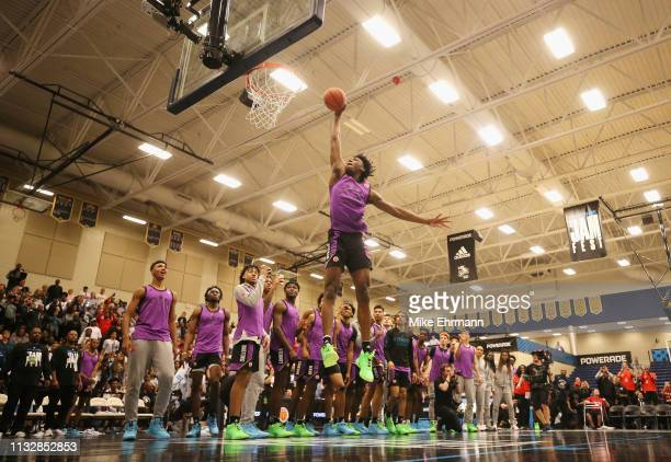 James Wiseman competes in the dunk contest during the 2019 Powerade Jam Fest on March 25 2019 in Marietta Georgia