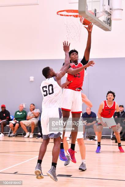 James Wiseman from East Memphis High School goes up for a shot during the adidas Summer Championships on July 20 2018 at the Ladera Sports Center in...