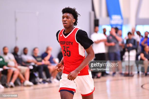 James Wiseman from East Memphis High School looks on during the adidas Summer Championships on July 20 2018 at the Ladera Sports Center in Ladera...