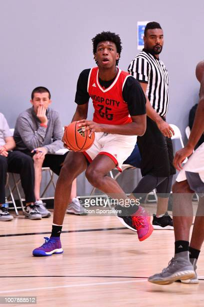 James Wiseman from East Memphis High School looks to shoot a jump shot during the adidas Summer Championships on July 20 2018 at the Ladera Sports...