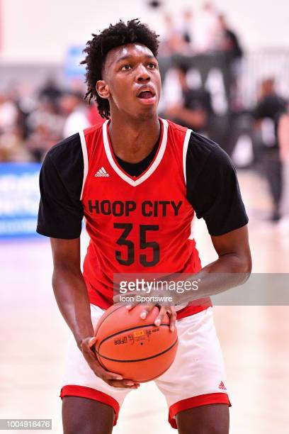 James Wiseman from East Memphis High School shoots a free throw during the adidas Summer Championships on July 20 2018 at the Ladera Sports Center in...