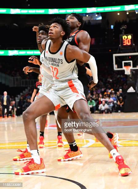 James Wiseman of East High School in Tennessee boxes out during the 2019 McDonald's High School Boys AllAmerican Game on March 27 2019 at State Farm...