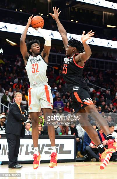 James Wiseman of East High School in Tennessee puts up a shot against Isaiah Stewart of La Lumiere School in Indiana during the 2019 McDonald's High...