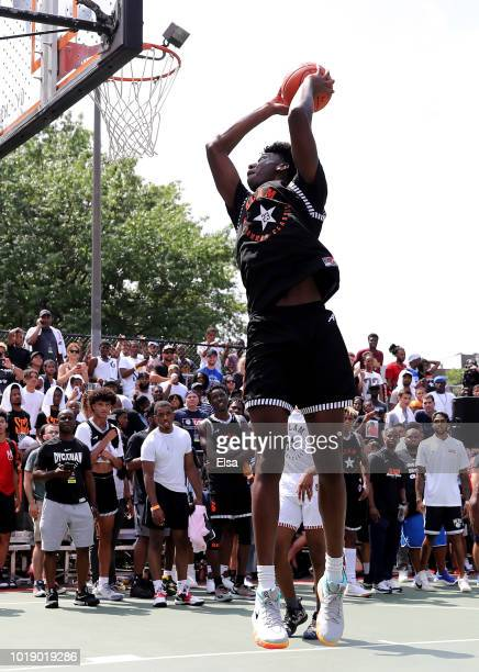 James Wiseman of Team Ramsey dunks against Team Stanley during the SLAM Summer Classic 2018 at Dyckman Park on August 18 2018 in New York City