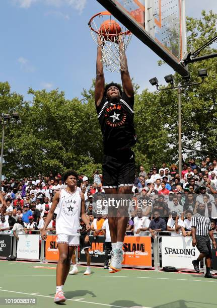 James Wiseman of Team Ramsey dunks as Jalen Green of Team Stanley defends during the SLAM Summer Classic 2018 at Dyckman Park on August 18 2018 in...