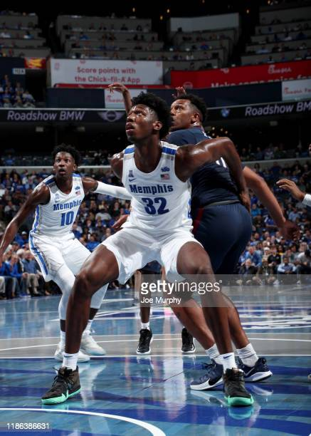 James Wiseman of the Memphis Tigers blocks out against the South Carolina State Bulldogs during a game on November 5 2019 at FedExForum in Memphis...