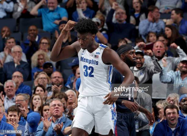 James Wiseman of the Memphis Tigers celebrates against the South Carolina State Bulldogs during a game on November 5 2019 at FedExForum in Memphis...