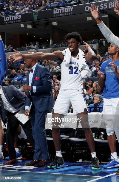 James Wiseman of the Memphis Tigers celebrates on the bench against the South Carolina State Bulldogs during a game on November 5 2019 at FedExForum...