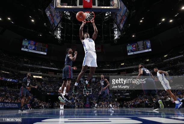 James Wiseman of the Memphis Tigers dunks the ball against the South Carolina State Bulldogs during a game on November 5 2019 at FedExForum in...