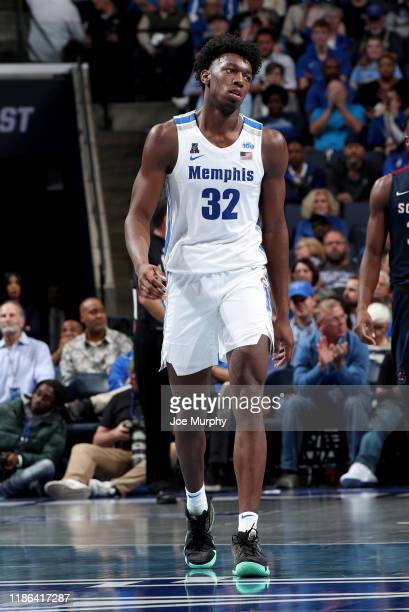 James Wiseman of the Memphis Tigers looks on against the South Carolina State Bulldogs during a game on November 5 2019 at FedExForum in Memphis...