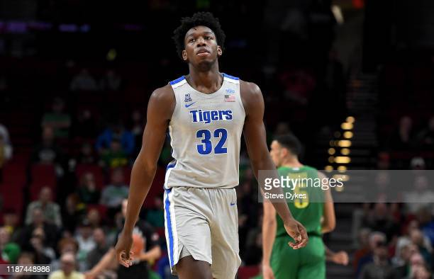 James Wiseman of the Memphis Tigers walks up court during the first half of the game against the Oregon Ducks between the Oregon Ducks and Memphis...