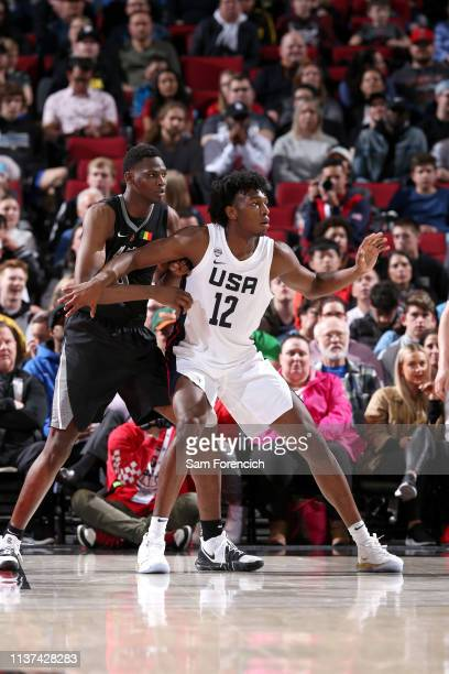 James Wiseman of USA Team defends against the World Team on April 12 2019 at the Moda Center Arena in Portland Oregon NOTE TO USER User expressly...