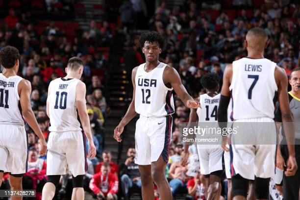 James Wiseman of USA Team looks on against the World Team on April 12 2019 at the Moda Center Arena in Portland Oregon NOTE TO USER User expressly...