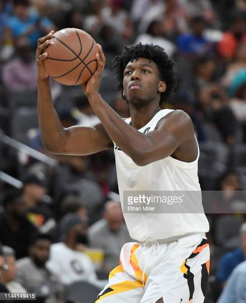 James Wiseman warms up at halftime of the Jordan Brand Classic boys high school allstar basketball game at TMobile Arena on April 20 2019 in Las...
