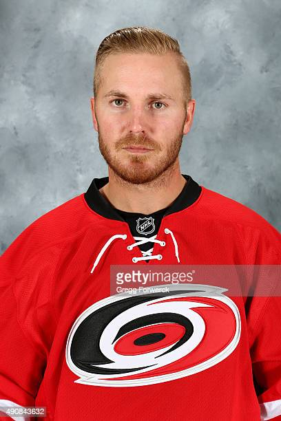 James Wisniewski of the Carolina Hurricanes poses for his official headshot for the 20152016 season on September 17 2015 at Carolina Family Practice...