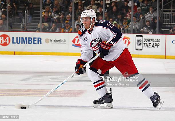 James Wisniewski of the Columbus Blue Jackets moves the puck against the Pittsburgh Penguins at Consol Energy Center on March 1 2015 in Pittsburgh...