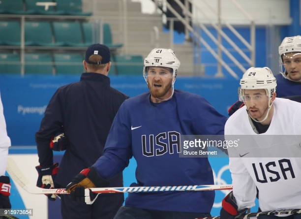 James Wisniewski of the Men's USA Ice Hockey Team practices ahead of the PyeongChang 2018 Winter Olympic Games at the Gangneung Hockey Centre on...