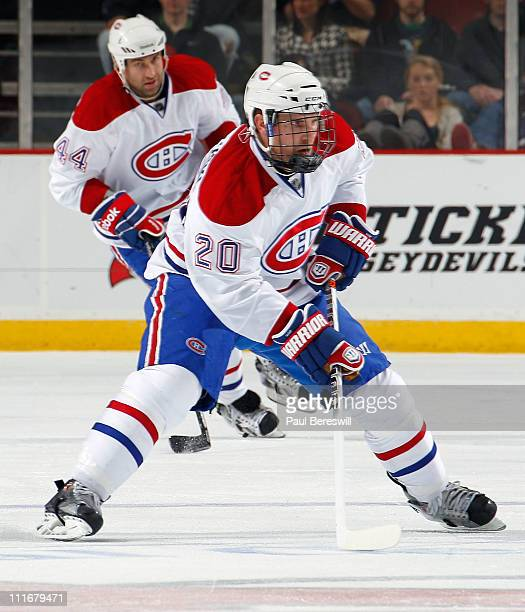 James Wisniewski of the Montreal Canadians skates during an NHL hockey game against the New Jersey Devils at the Prudential Center on April 2, 2011...