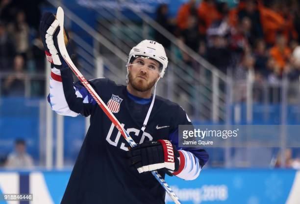 James Wisniewski of the United States celebrates after defeating Slovakia 21 during the Men's Ice Hockey Preliminary Round Group B game at Gangneung...