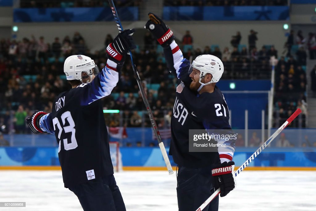 James Wisniewski #21 of the United States celebrates after with his teammate Troy Terry #23 after scoring a goal against Jan Laco #50 of Slovakia in the second period during the Men's Play-offs Qualifications game on day eleven of the PyeongChang 2018 Winter Olympic Games at Gangneung Hockey Centre on February 20, 2018 in Gangneung, South Korea.