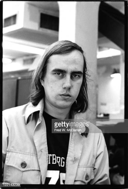 James Wolcott a columnist for The Village Voice poses for a portrait in the Village Voice office on October 6 1975 in New York City New York