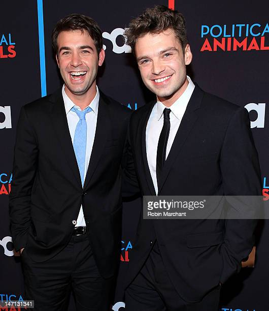 James Wolk and Sebastian Stan attend USA Network's 'Political Animals' New York Screening at The Morgan Library Museum on June 25 2012 in New York...