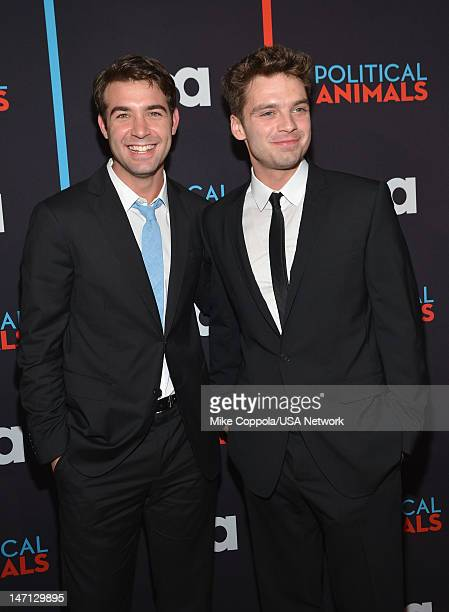 James Wolk and Sebastian Stan of 'Political Animals' attend Political Animals Premiere Event at The Morgan Library Museum on June 25 2012 in New York...