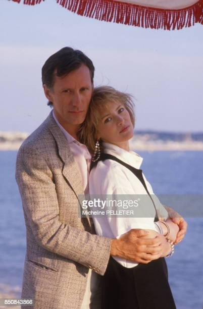 James Wood et Gabrielle Lazure lors du Festival de Cannes en mai 1985 France