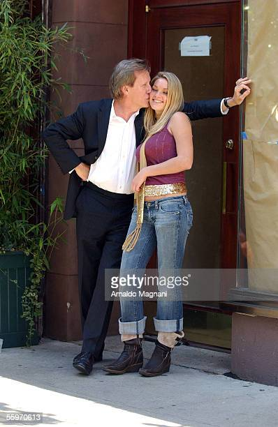 James Wood stands with his girlfriend Ashley Myrick outside Nello Restaurant for lunch October 19 2005 in New York City