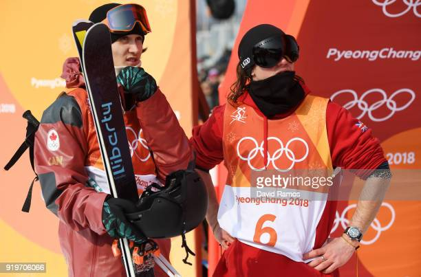 James Woods of Great Britain and Teal Harle of Canada look on during the Freestyle Skiing Men's Ski Slopestyle Final on day nine of the PyeongChang...