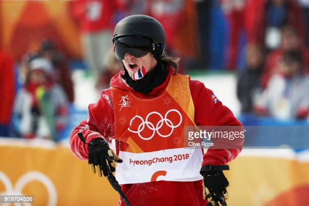James Woods of Great Britain celebrates after his final run during the Freestyle Skiing Men's Ski Slopestyle Final on day nine of the PyeongChang...
