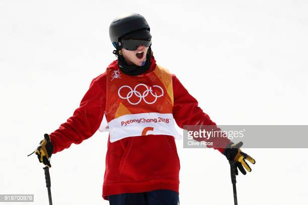James Woods of Great Britain celebrates as he finishes his second run during the Freestyle Skiing Men's Ski Slopestyle Final on day nine of the...