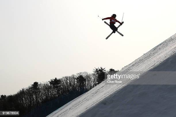 James Woods of Great Britain competes during the Freestyle Skiing Men's Ski Slopestyle qualification on day nine of the PyeongChang 2018 Winter...