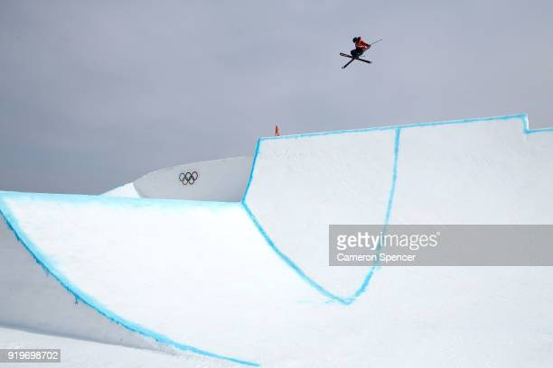 James Woods of Great Britain competes during the Freestyle Skiing Men's Ski Slopestyle Final on day nine of the PyeongChang 2018 Winter Olympic Games...