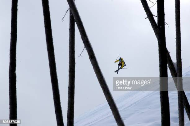 James Woods of Great Britain competes in the Men's Ski Slopestyle qualifier during Day 2 of the Dew Tour on December 14 2017 in Breckenridge Colorado