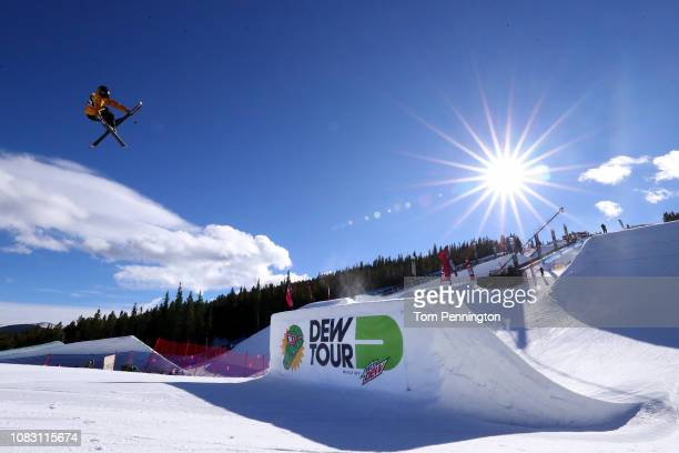 James Woods of Great Britain competes in the Men's Ski Slopestyle Jump Final presented by Toyota during Day 3 of the Dew Tour on December 15 2018 in...